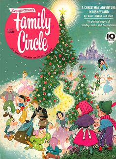 The Disney Christmas themed cover of the December 1958 edition of Family Circle magazine. #Disney #1950s #Christmas