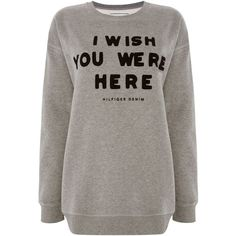 Tommy Hilfiger THDW Words Sweater (2,935 INR) ❤ liked on Polyvore featuring tops, sweaters, clearance, grey, double layer top, tommy hilfiger tops, print sweater, layered sweater and grey long sleeve sweater