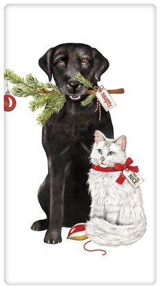 Festive Dog and Cat Christmas 100% Cotton Flour Sack Dish Towel Tea Towel