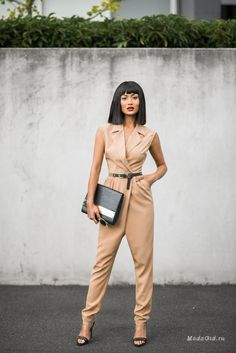 Nude Inspiration beige Jumpsuit by Micah Gianneli Fashion Mode, Look Fashion, High Fashion, Womens Fashion, Fashion Trends, Fashion Ideas, Style Outfits, Cute Outfits, Summer Outfits