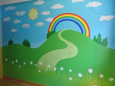 Murales paisajes en la pared