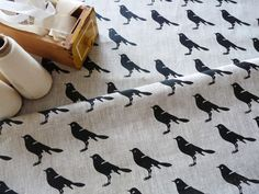 Contemporary Cloth Store - Celina Mancurti - Black Bird linen hand-screen printed fabric , $12.40 (http://www.contemporarycloth.com/celina-mancurti-black-bird-linen-hand-screen-printed-fabric/)