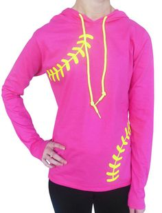 Women's Softball Hoodie T-Shirt – Laces. Soft, lightweight pink fabric, neon drawstrings and a flattering cut make this cute softball hoodie an ideal gift for softball girls. Softball Shirts, Softball Players, Girls Softball, Baseball Mom, Softball Clothes, Softball Stuff, Cute Girl Outfits, Mom Outfits, Sports Mom