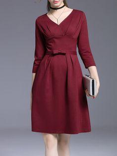 #AdoreWe #StyleWe Midi Dresses - KK2 Burgundy Plain Elegant V Neck Midi Dress - AdoreWe.com