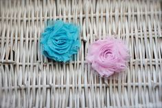 Shabby Chiffon Flowers Clips in Turquoise Pink by MadiMosBows, $4.00 www.madimosbows.etsy.com