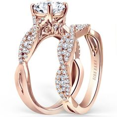 "Kirk Kara ""Pirouetta"" Split Shank Twist Diamond Engagement Ring in 18kt Rose Gold"