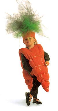 """OK..so this really is a cute costume, but you can't tell me it was the child's idea! """"Oh Mom..please let me be a carrott for Halloween this year! I have always dreamed of being a carrot, please mommy, please just make me that carrott costume! I am begging you!!!"""" Waaahhhaaa waaahhhaaa!"""