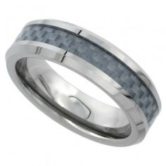 6mm Tungsten Wedding Band Gray Carbon Fiber Inlay Beveled Edges Comfort fit, sizes 5 to 9.5