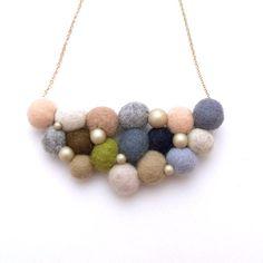 R's Felt Ball Necklace - H