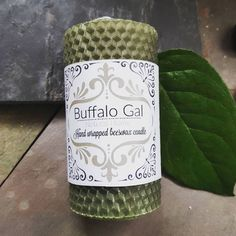 MOSS GREEN hand wrapped Beeswax Candle // Unscented // Buffalo Gal Home Collection by BuffaloGalOrganics on Etsy