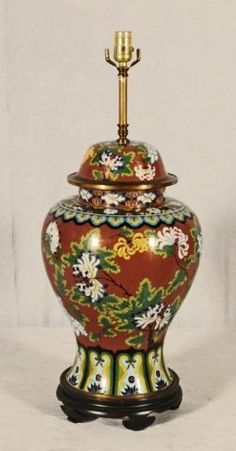RED CLOISONNE LAMP WITH FLORAL DECORATION.