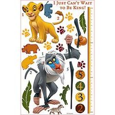 Adesivo de Parede The Lion King Growth Chart Roommates Colorido (46x12,8x2,8cm)