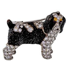 E. Wolfe Brittany or Springer Spaniel Diamond Gold Dog Pin | From a unique collection of vintage brooches at https://www.1stdibs.com/jewelry/brooches/brooches/