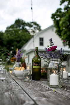 "farmhousetouches: ""(via A Simple Evening: Summer's Abundance Sweet Light, Fresco, Small Outdoor Spaces, Outdoor Entertaining, Diy Party, Outdoor Dining, Country Life, A Table, Dining Table"