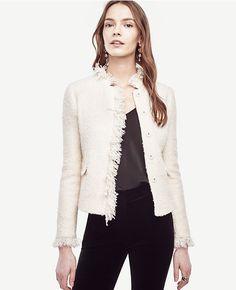 Primary Image of Petite Fringe Tweed Jacket
