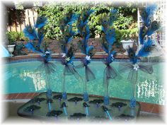 Peacock and Ostrich Feather Centerpieces by Ivyndell