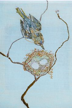 Phil Stewart: embroidery using negative space as content/compositional element. Colored background.