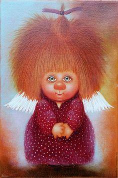 Купить Ангел Пушистик. Картина маслом - ангел, ангел пушистик, картина маслом, картина в подарок