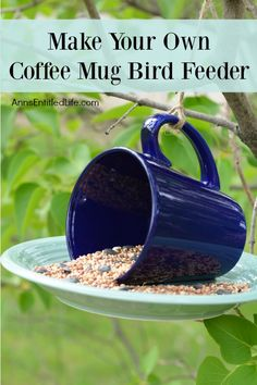 Make Your Own Coffee Mug Bird Feeder. This is the easiest garden craft project you will ever do! Add a touch of whimsy to your garden decor with this simple coffee mug bird feeder craft. A fast and inexpensive craft project, learn to make your own coffee mug bird feeder with this simple step by step tutorial.