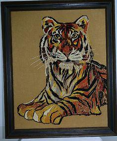 Vintage Art Large Tiger Yarn Needlework Jungle Stitching Framed Embroidary