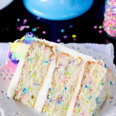 A light and fluffy white Funfetti cake made from scratch, speckled with sprinkle. - A light and fluffy white Funfetti cake made from scratch, speckled with sprinkles, and iced with a - Homemade Birthday Cakes, First Birthday Cakes, Homemade Cakes, Birthday Ideas, 30 Birthday, Food Cakes, Cupcake Cakes, Köstliche Desserts, Dessert Recipes