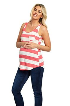 PinkBlush Maternity Pink White Striped Maternity Racerback Tank Large *** Be sure to check out this awesome product.Note:It is affiliate link to Amazon.
