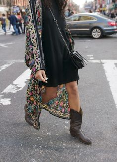 Love this jacket with the black dress and black cowboy boots