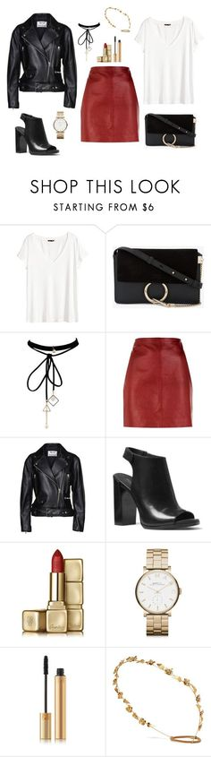 """Untitled #321"" by bajka2468 on Polyvore featuring H&M, Chloé, WithChic, Sandro, Acne Studios, Michael Kors, Guerlain, Marc by Marc Jacobs, Yves Saint Laurent and Jennifer Behr"