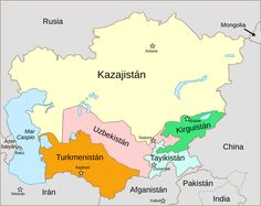 Political map - Central Asia, Central Asia,   Travel inspiration ...