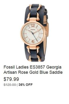 797b8a968904 Fossil Ladies ES3857 Georgia Artisan Rose Gold Blue Saddle Leather Strap  Watch