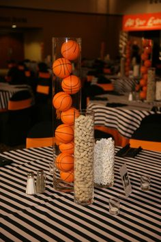 Basketball Theme Bar Mitzvah with Stripes and Orange Accents Bar Mitzvah Favors, Bar Mitzvah Centerpieces, Bar Mitzvah Party, Bat Mitzvah, Table Centerpieces, Table Decorations, Basketball Birthday Parties, Sports Birthday, Sports Party