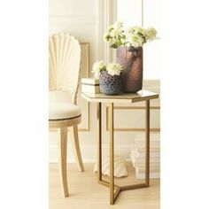 Threshold™ Faux Shell Inlay Hexagonal Accent Table - Cream/ Gold
