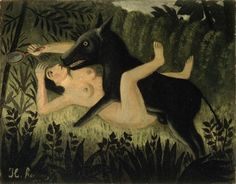 Beauty and The Beast, c.1908, by Henri Rousseau (French, 1844-1910).