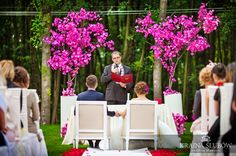 Orchid trees for civil outdoor ceremony. Fuchsia and hot pink! fot. Marcelina & Marcin Szwarc