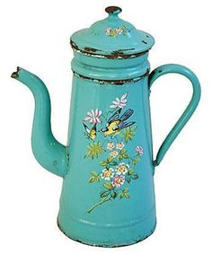 Antique Vintage French Enameled Coffee Pot ~ Turquoise with Handpainted Design