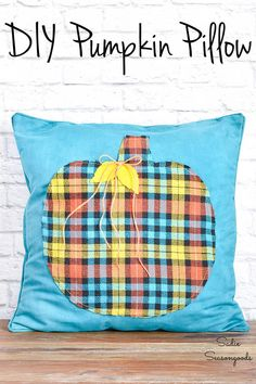 A flannel shirt from the thrift store is a great thing to upcycle in the Fall, isn't it? And this idea for a pumpkin throw pillow is SO easy to make and SO inexpensive when you use a pillow from the thrift store, too! #pumpkindecor #fallthrowpillow #bluefalldecor #flannelcrafts #craftingwithflannel #flannelshirt #autumnpillow #pumpkinthrowpillow #pumpkindecor Pumpkin Pillows, Fall Pillows, Diy Pumpkin, Blue Pillows, Throw Pillows, Fall Projects, Craft Projects, Cheap Wreaths, Blue Fall Decor