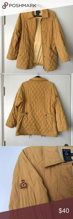 """Façonnable Quilted Jacket Even though we are moving into spring and summer seasons....It's never too early to prep for a chilly fall or winter! This Façonnable Mustard-yellow Quilted jacket is a high quality steal!   Water resistant and warm for inclement weather. Has drawstring inside jacket to hug close to body at waist. Convenient pocket in inner lining. Signature """"F"""" found on outer right sleeve. Size: XS (fits XS - M; for reference of fit, model in pic is typical Medium)  Excellent used…"""