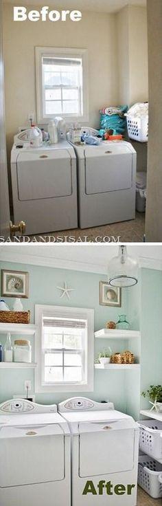 DIY tiny laundry room make over idea.  Before and AFTER this small laundry room make-over.
