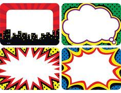 These comic book-style, superhero-themed name tags are ideal for parent-teacher conferences, back-to-school events, field trips, classroom labels and more! Pack includes 36 self-adhesive name tags in 4 designs; each name tag measures 2 x 3 Superhero Name Tags, Superhero Classroom Theme, Classroom Labels, Superhero Birthday Party, Classroom Themes, Classroom Name Tags, Superhero Teacher, Superhero Template, Superhero Kids