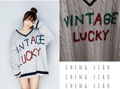 * Cheng Xiao * Sweater: https://www.aliexpress.com/item/autumn-women-sweaters-and-pullovers-winter-2016-harajuku-korean-letters-vintage-lucky-pullover-knitted-christmas-sweater/32748163074.html?spm=2114.40010708.4.12.Wh6NB8