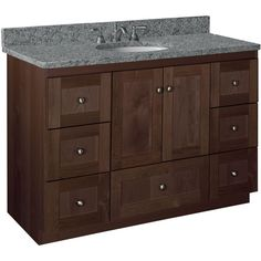 Simplicity by Strasser Shaker 48 in. W x 21 in. D x 34.5 in. H Vanity Cabinet Only in Dark Alder-01.119.2 - The Home Depot