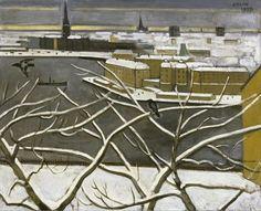 Einar Jolin (Swedish, 1890-1976), Utsikt från Söder över Riddarholmen –- vinterbild [View from Söder over Riddarholmen, Stockholm - Winter], 1937. Oil on canvas, 50 × 61 cm.