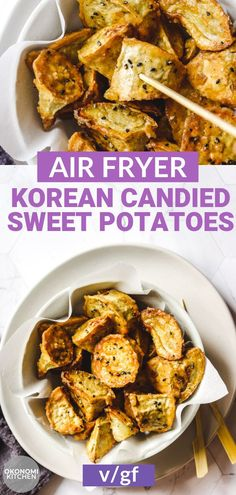 Air Fryer Korean Candied Sweet Potatoes are crispy on the outside and tender and fluffy on the inside. A sweet and delicious made with just 4 simple ingredients! It's quick & easy to make and the perfect healthier snack. Air Fryer Recipes Vegan, Vegan Recipes, Korean Recipes, Vegan Desserts, Snack Recipes, Vegan Side Dishes, Food Dishes, Korean Sweet Potato, Korean Potatoes