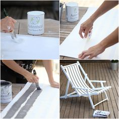 Tutorial con Chalk Paint de exterior  Tumbona y loneta