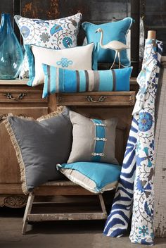 Lacefield Designs Plasma and Turquoise Pillow Collection #blue #interiors www.lacefielddesigns.com