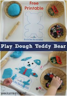 Play Dough Teddy Bear with Free Printable [jesse bear what will you wear] Letter B Activities, Picnic Activities, Playdough Activities, Activities For Kids, Letter Games, Motor Activities, Teddy Bear Crafts, Teddy Bear Day, Teddy Bears