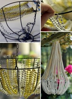 DIY Beaded Chandelier. This lovely beaded chandelier is made from a hanging basket from the dollar store as well as some Mardi Gras style beads. I like using it as a decor in my backyard. See more details here.