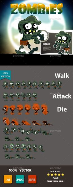 Buy Zombies Bigbies by ThanhNguyenBBE on GraphicRiver. A cute, super cute zoombies character, this is a character Bigbies in a set of 10 characters in a cute Zoombies game . Powerpoint Game Templates, Free Game Assets, Board Game Template, Game Background, Sprites, Free Games, Game Design, Board Games, Videogames