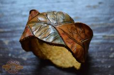 leather autumn leaves cuff ~ Livit Vivid-SR