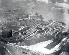 Beckton Gasworks. Aerial view. Old London, East London, Irish Catholic, Norfolk Broads, London History, The Old Days, London Photos, London Street, Aerial View